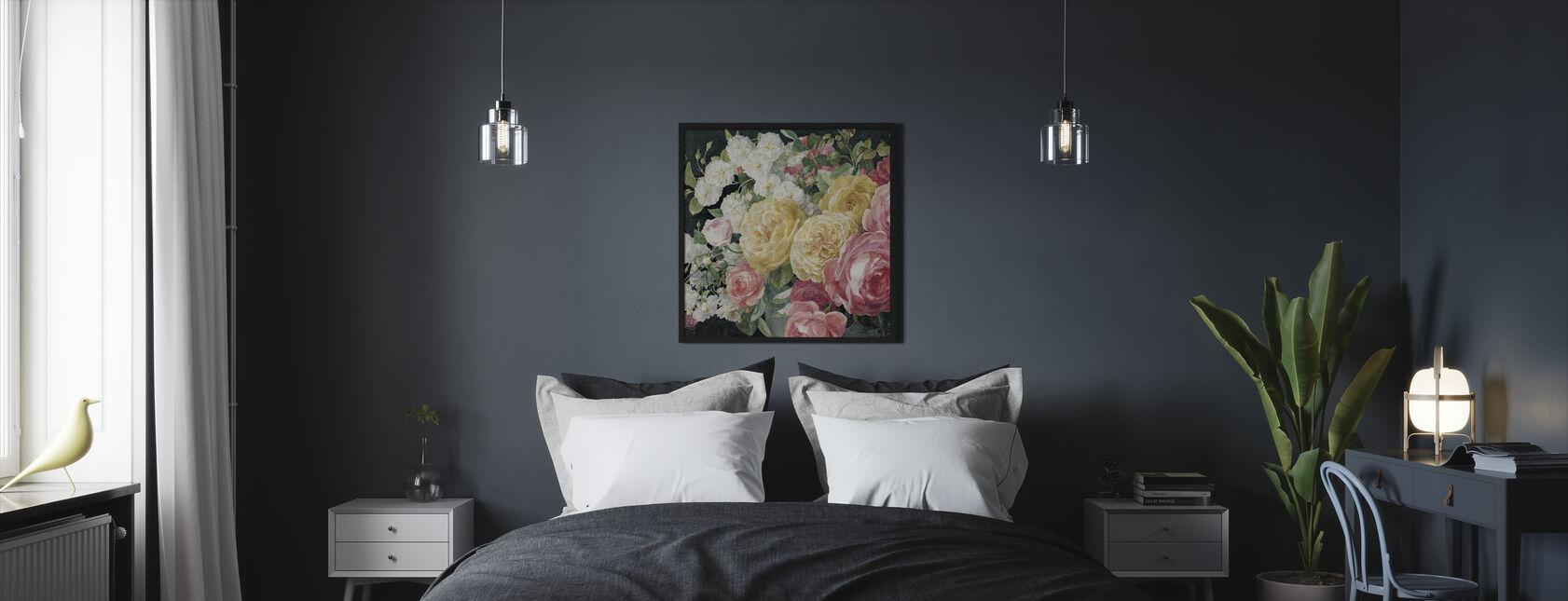 Antieke rozen op zwart - Ingelijste print - Slaapkamer