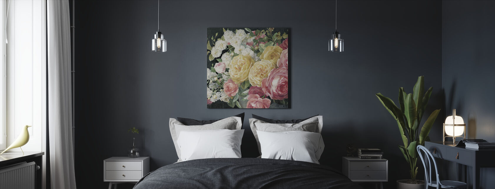 Antique Roses on Black - Canvas print - Bedroom