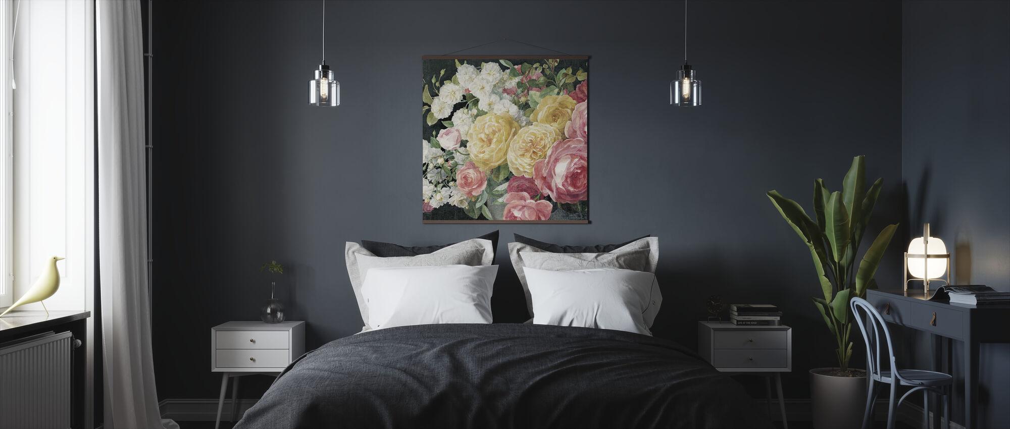 Antique Roses on Black - Poster - Bedroom