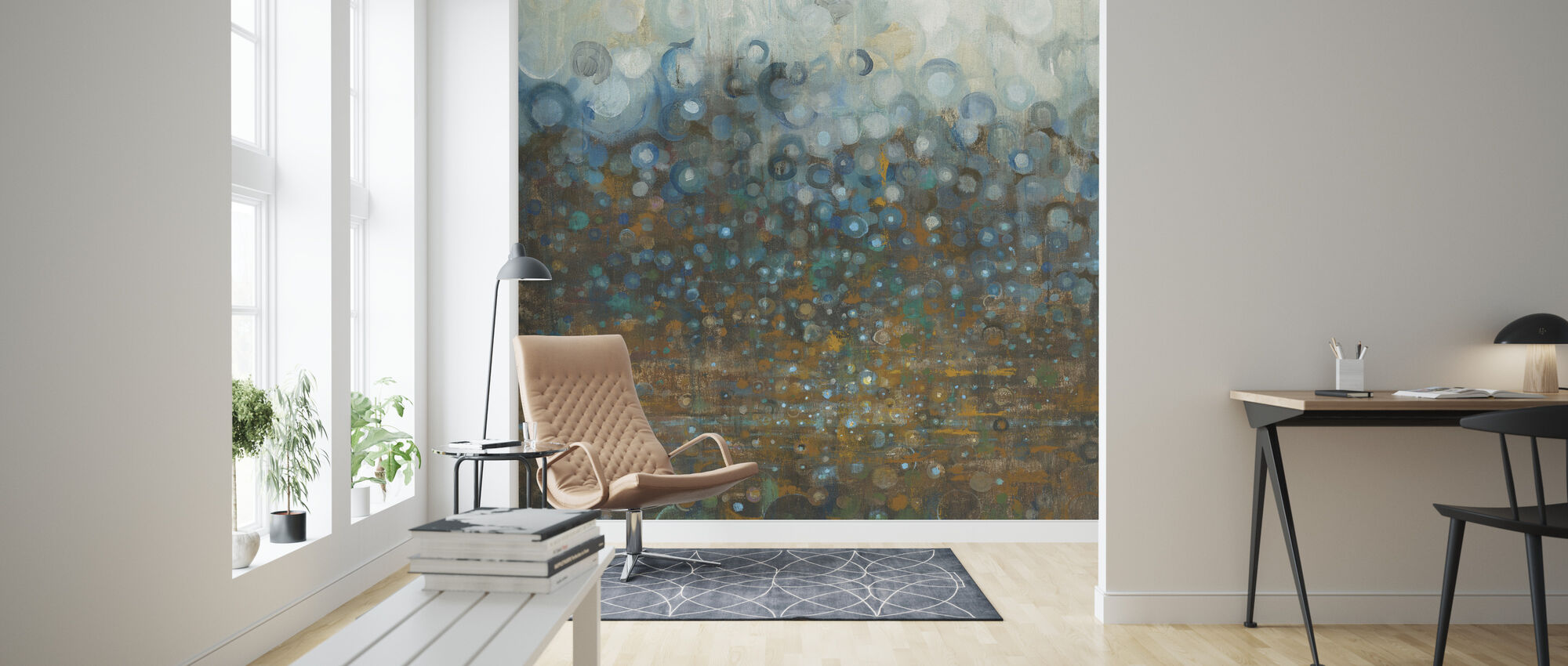 Blue and Bronze Dots - Wallpaper - Living Room