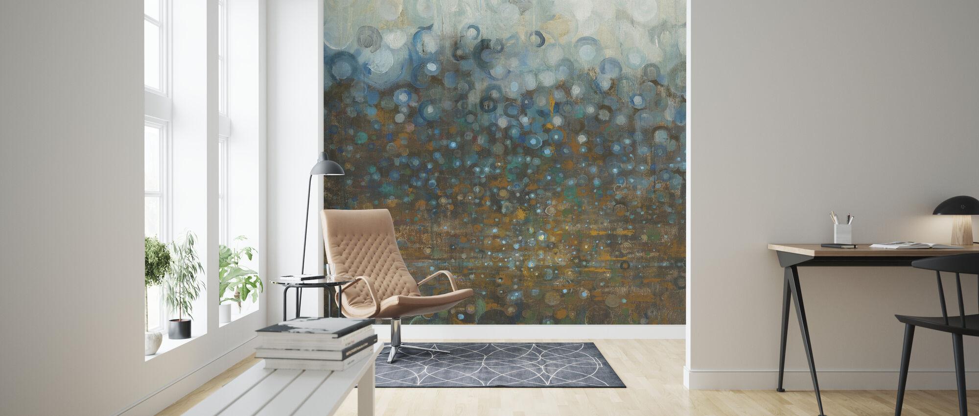 Blauwe en Bronzen Stippen - Behang - Woonkamer