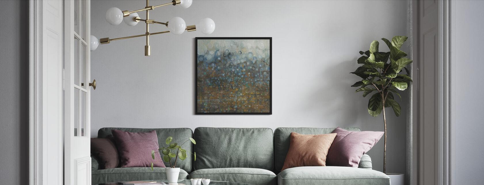 Blauwe en Bronzen Stippen - Ingelijste print - Woonkamer