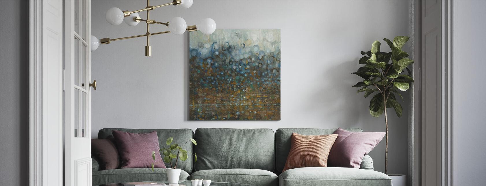 Blauwe en Bronzen Stippen - Canvas print - Woonkamer