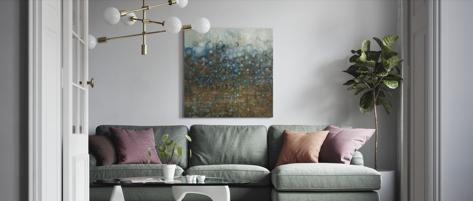 Blå og Bronze Prikker - Billede på lærred - Stue