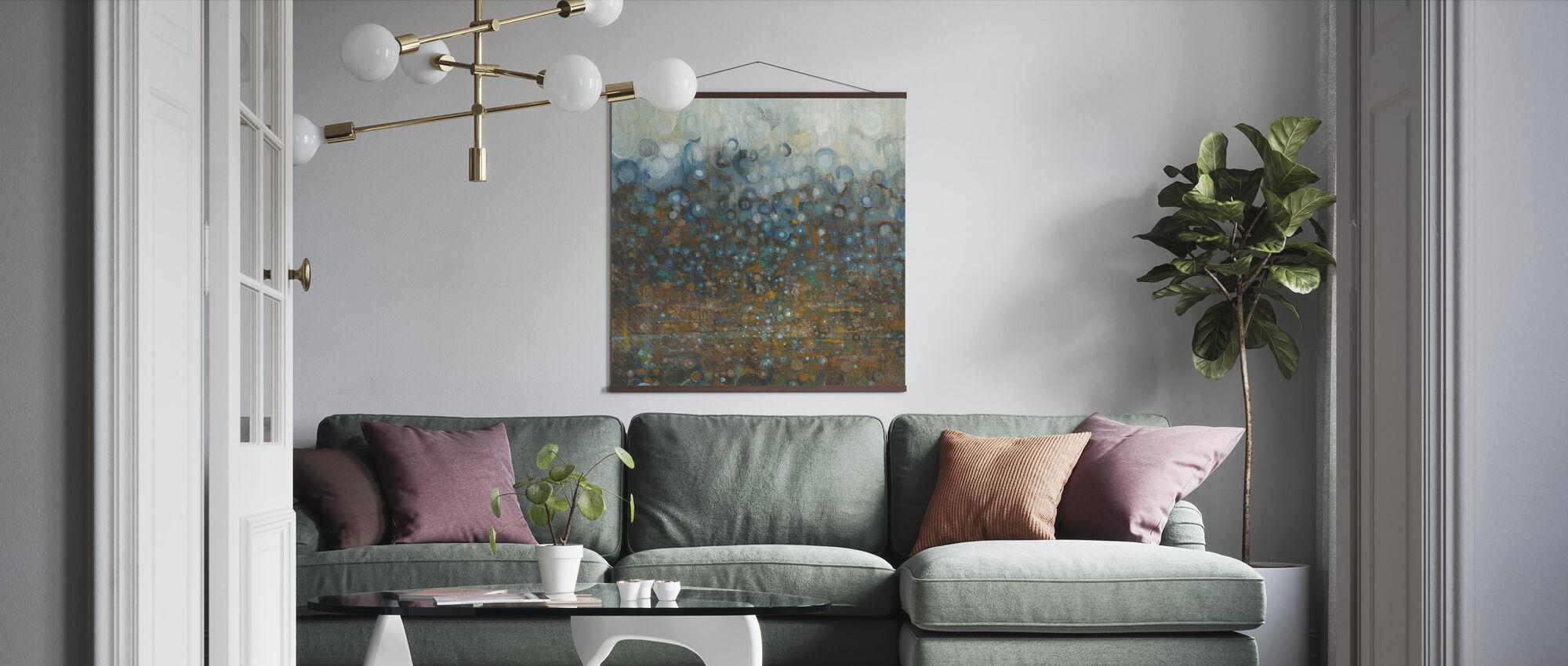Blauwe en Bronzen Stippen - Poster - Woonkamer