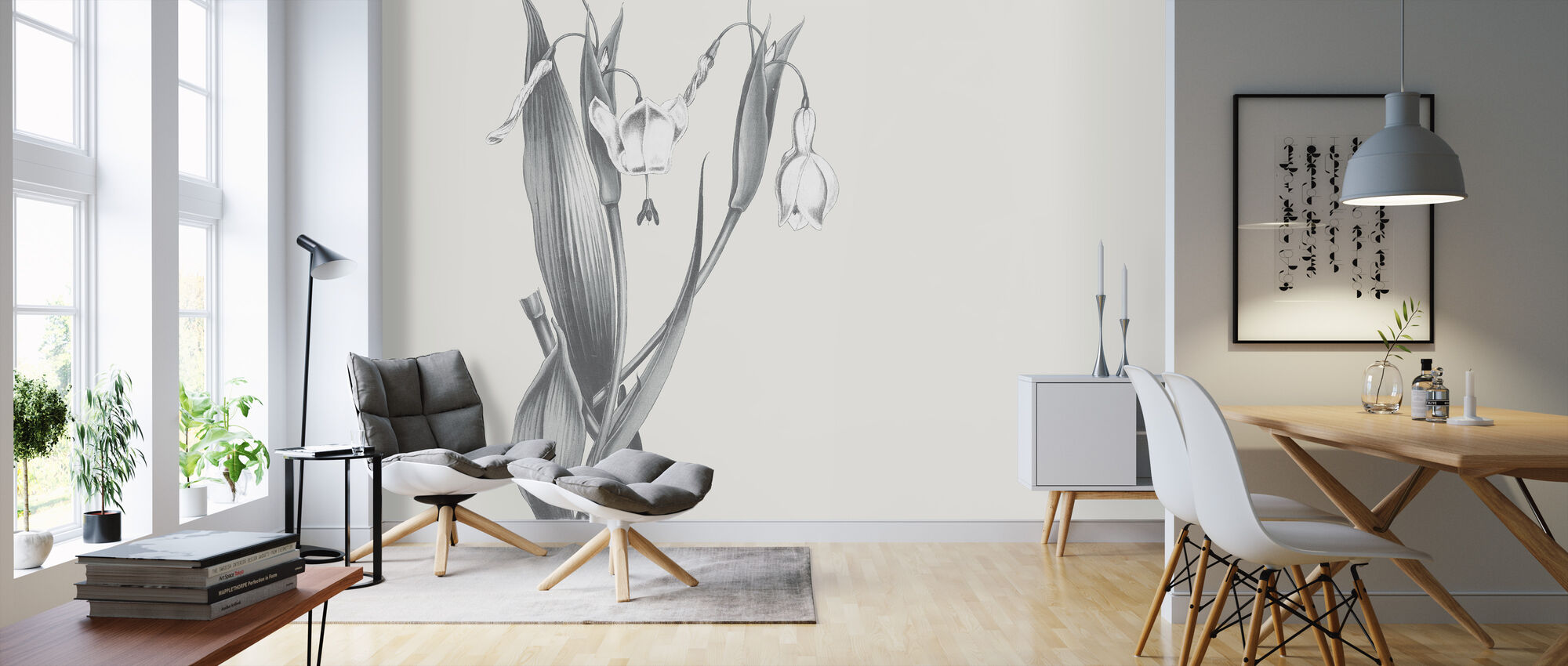 Neutral Botanical - Wallpaper - Living Room