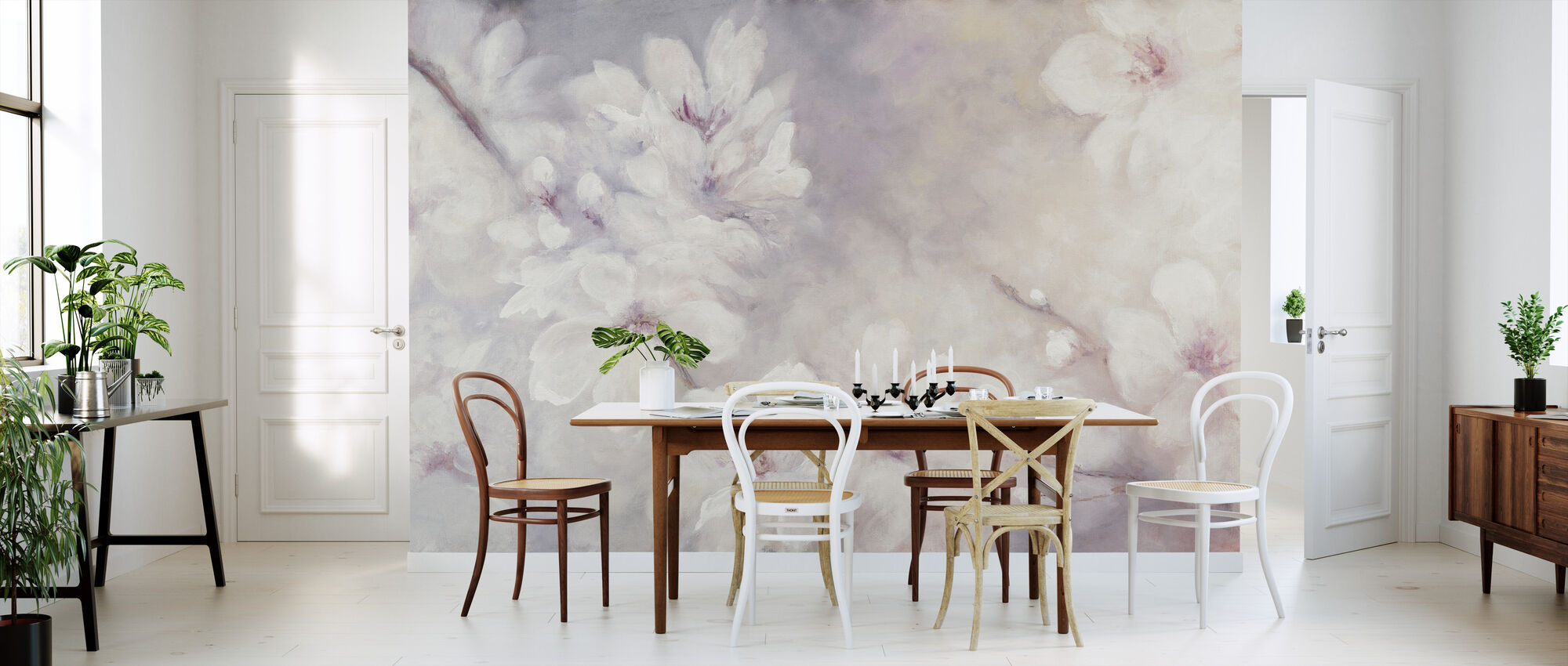 Cherry Blossoms Painting - Wallpaper - Kitchen