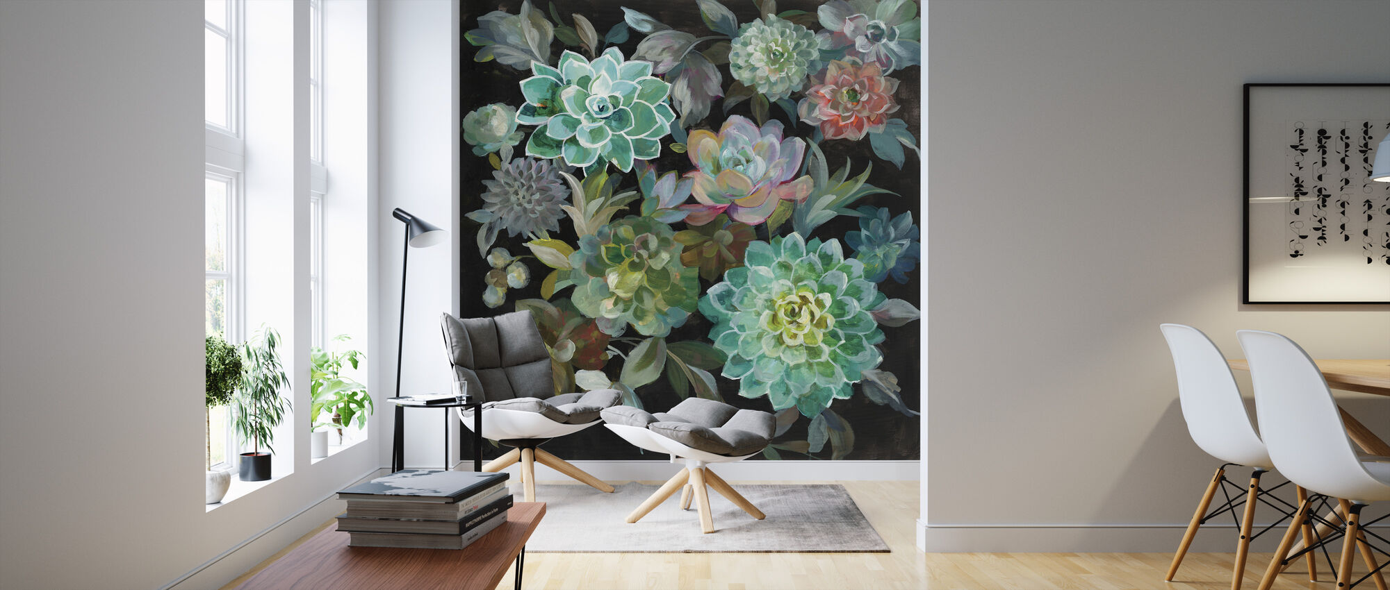 Floral Succulents - Wallpaper - Living Room