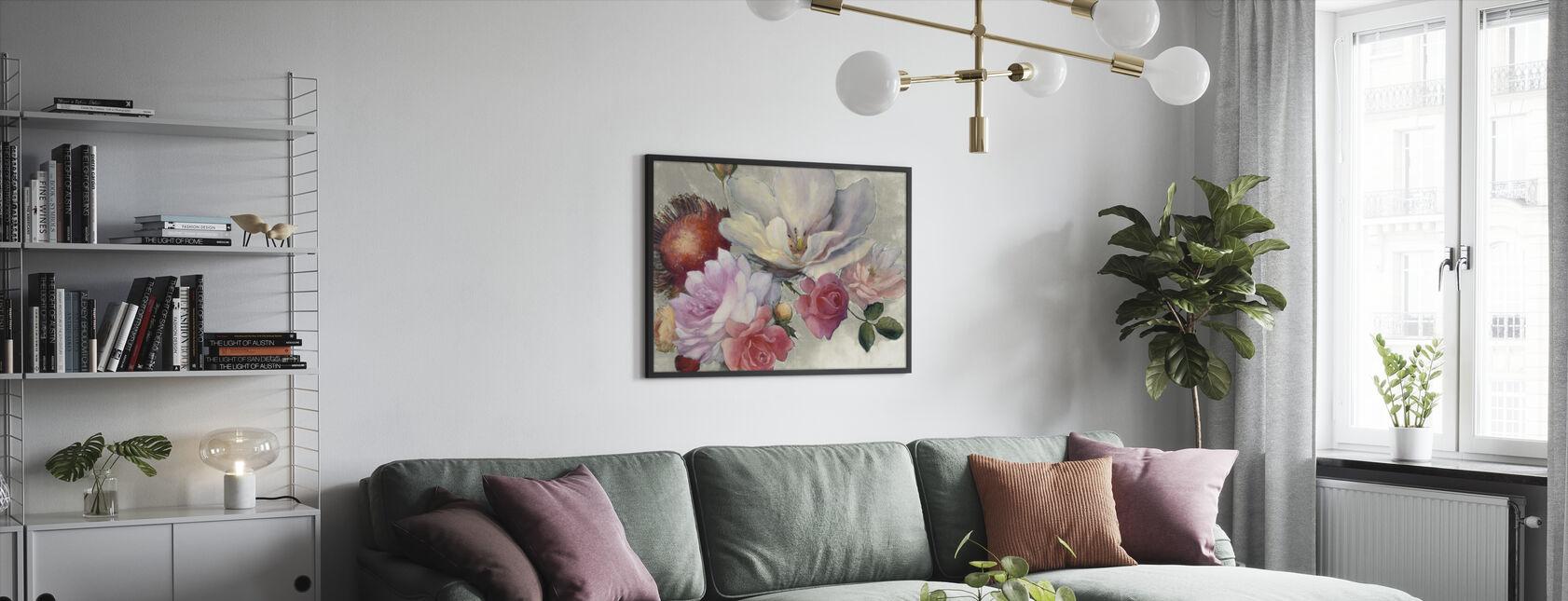 Fantasía flamenca sobre blanca - Print enmarcado - Salón
