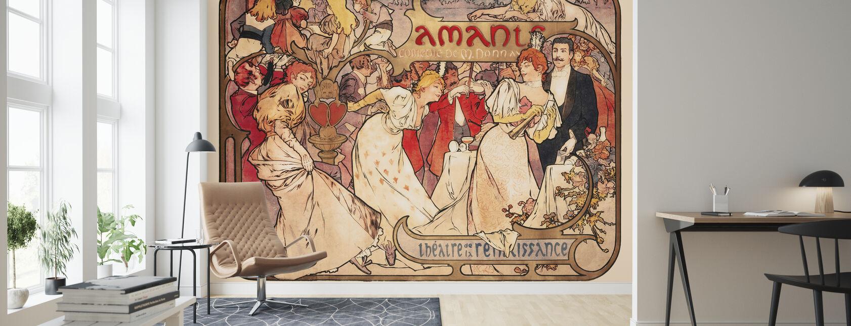 Alphonse Mucha - Amants Colour Litho - Wallpaper - Living Room