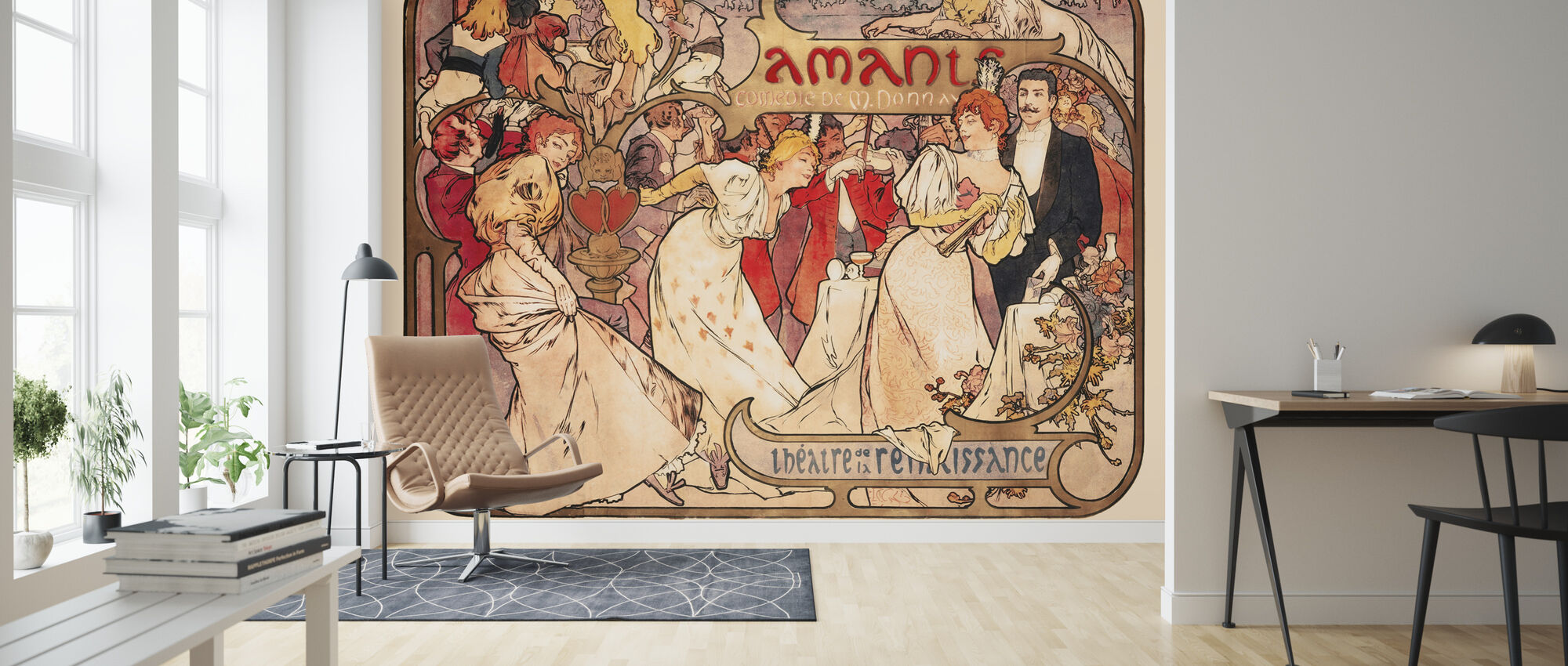 Alphonse Mucha - Amants Colour Litho - Behang - Woonkamer