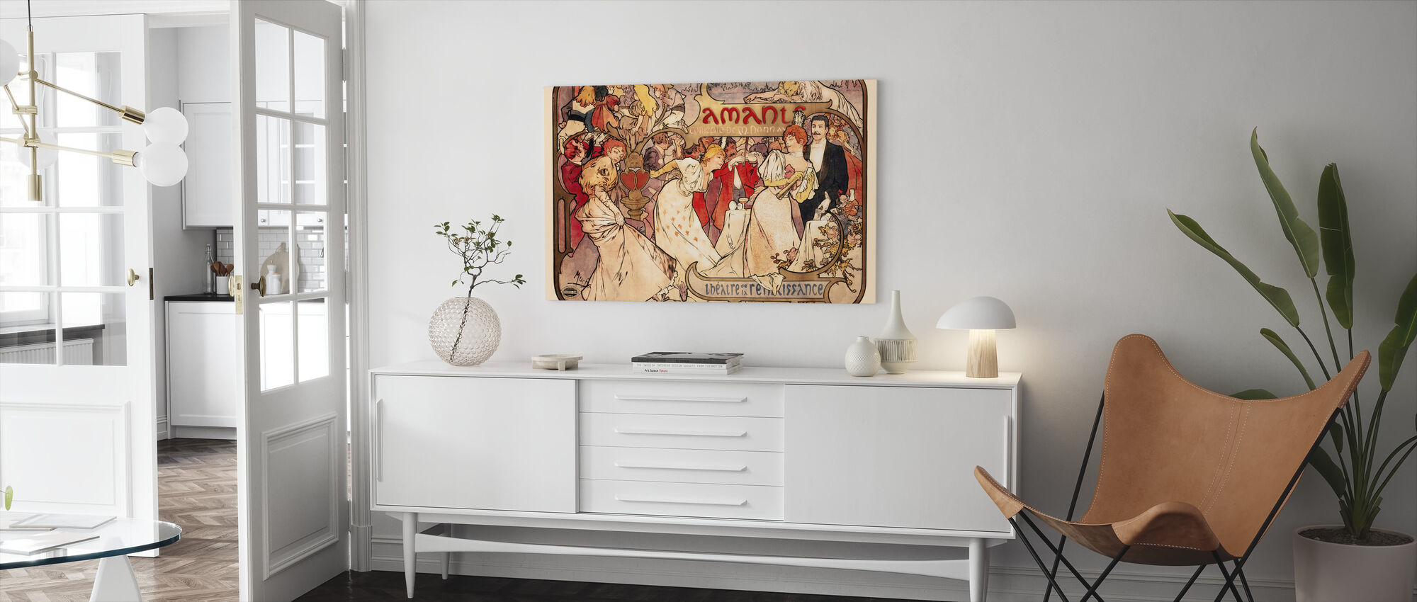 Alphonse Mucha - Amants Colour Litho - Lerretsbilde - Stue