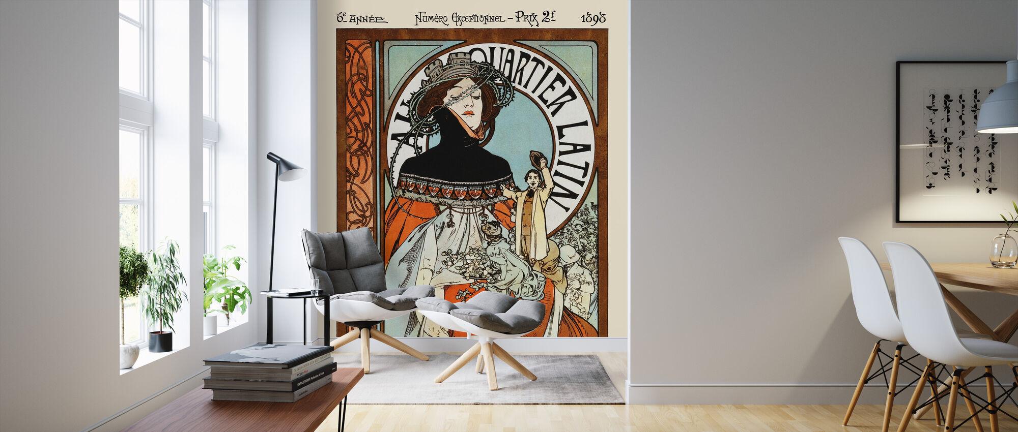 alphonse mucha au quarter latin mit fototapeten einrichten photowall. Black Bedroom Furniture Sets. Home Design Ideas