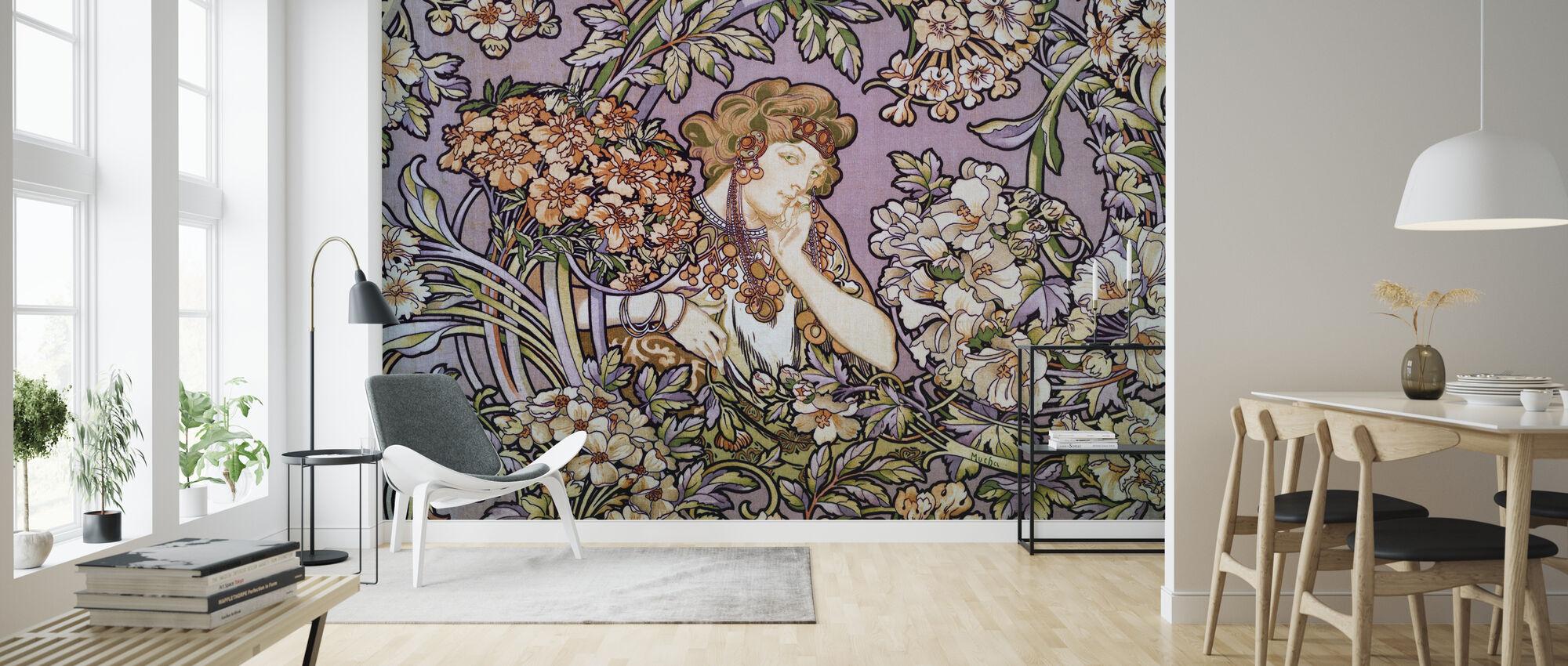 Alphonse Mucha - Colour Litho Lavendel - Wallpaper - Living Room