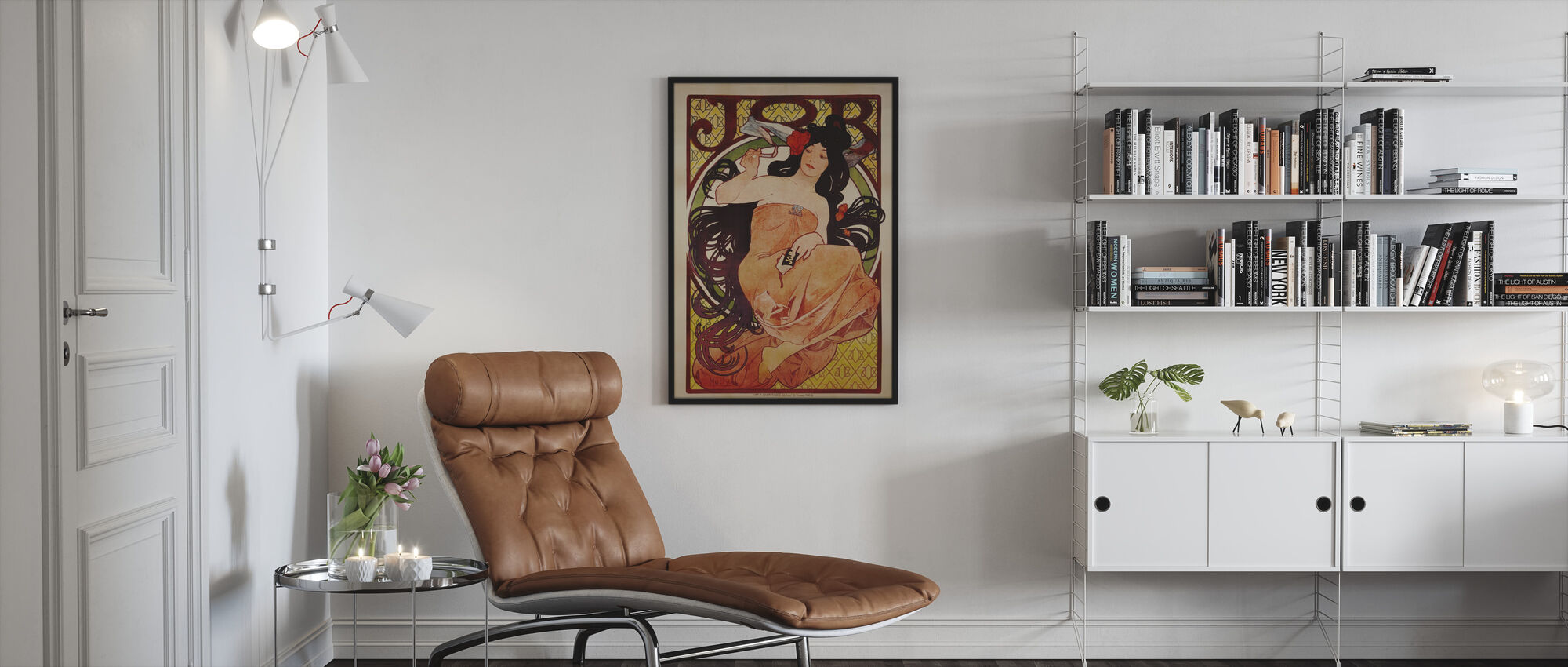 Alphonse Mucha - kleur job Litho - Ingelijste print - Woonkamer