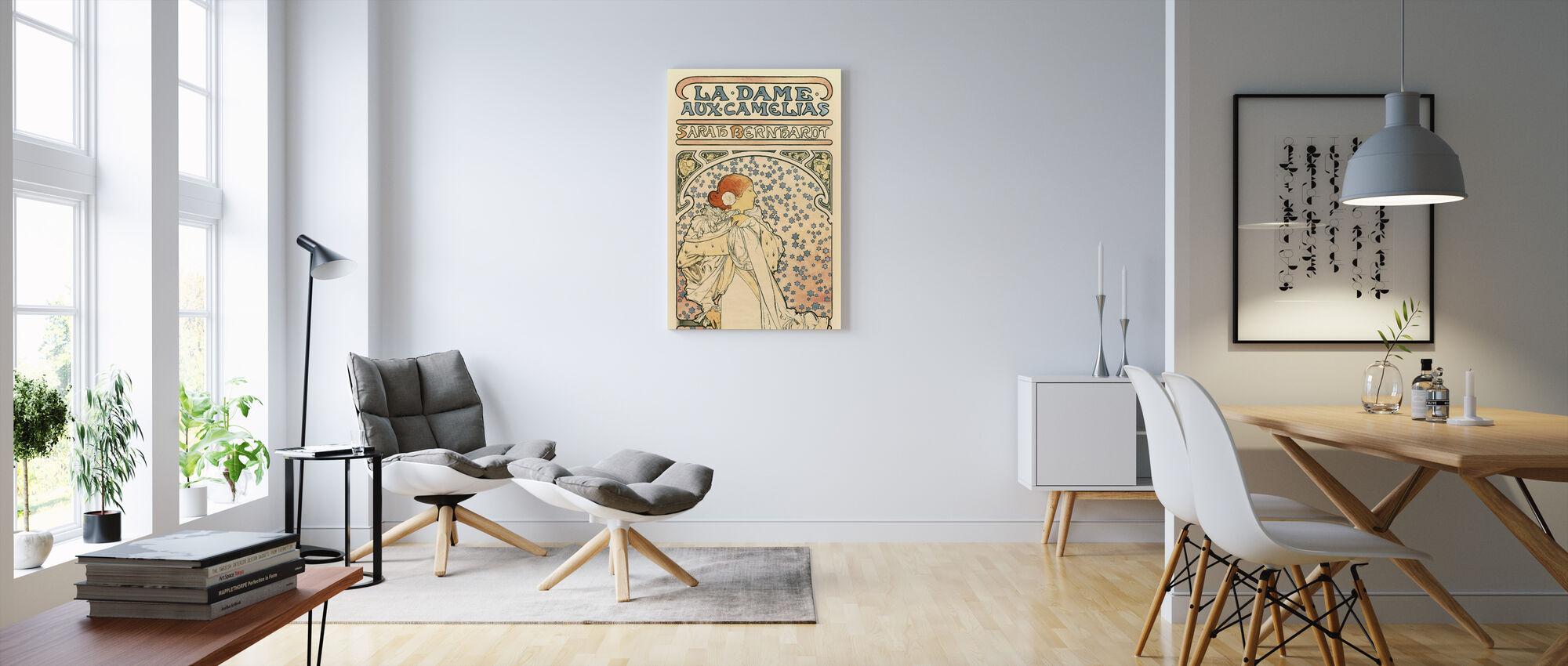 Alphonse Mucha - De Vrouwe van de Camelia's - Canvas print - Woonkamer