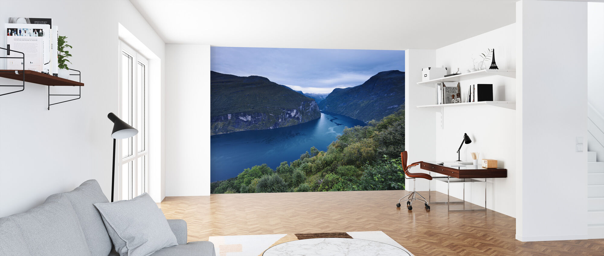 Blue Hour at Geiranger Fjord - Wallpaper - Office