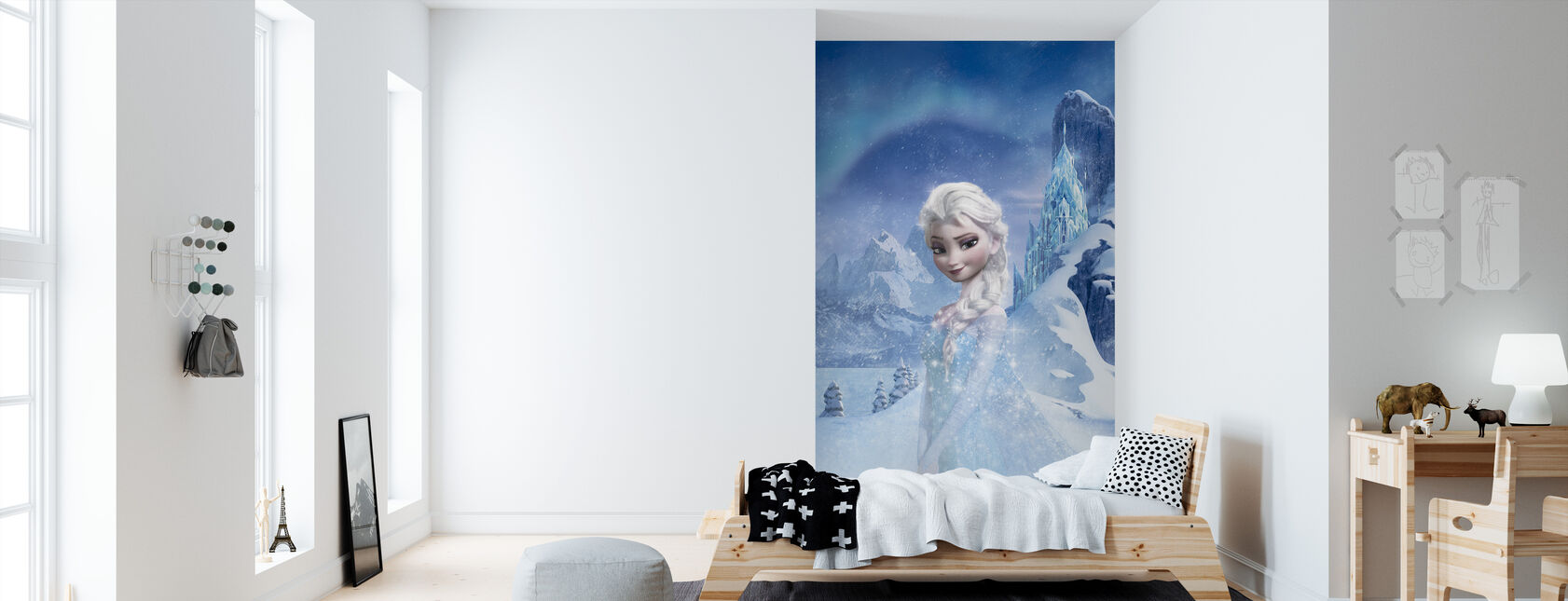 Fryst - Skimrande Elsa - Tapet - Barnrum