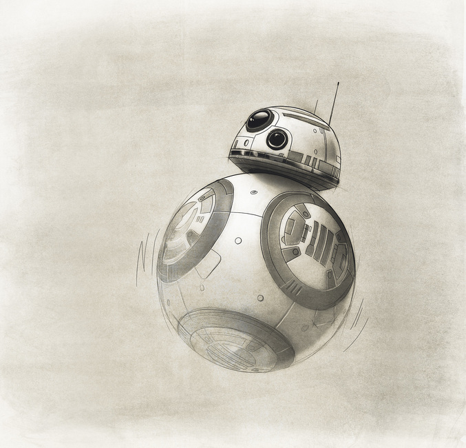 Star Wars - Drawing of BB-8 Fototapeter & Tapeter 100 x 100 cm