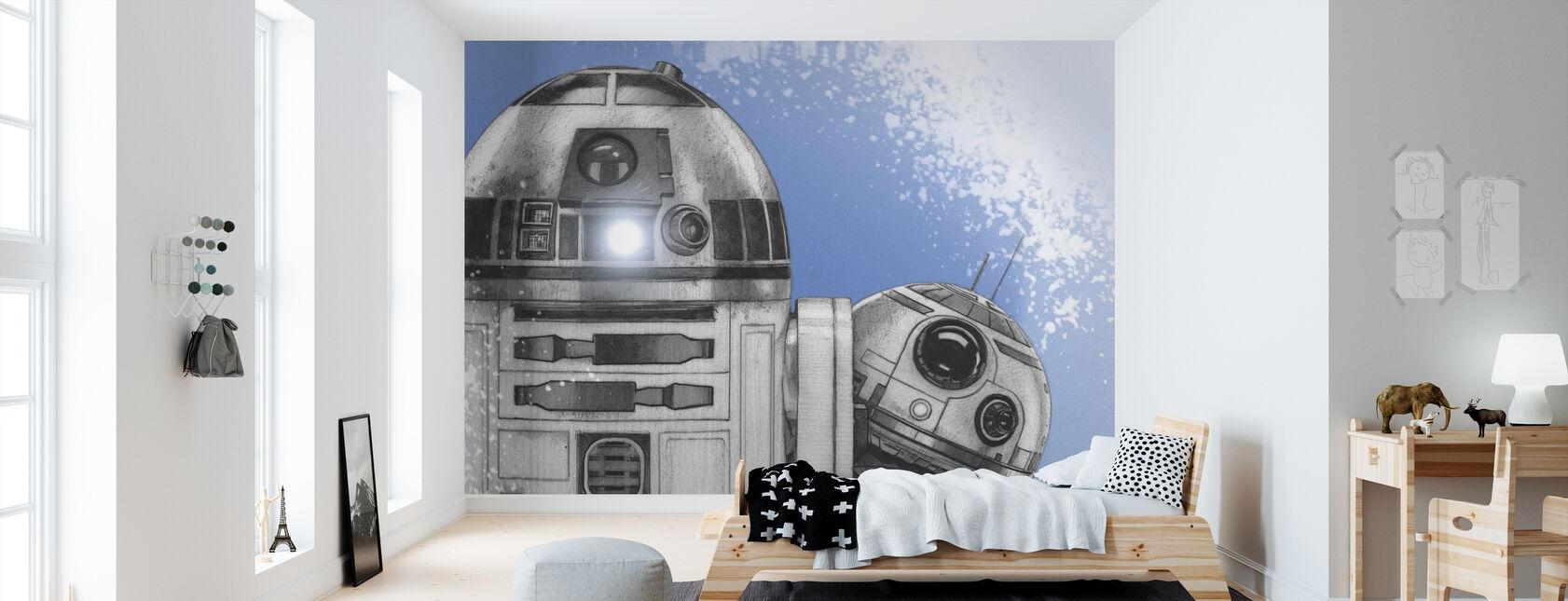Star Wars - R2-D2 og BB-8 - Tapet - Børneværelse