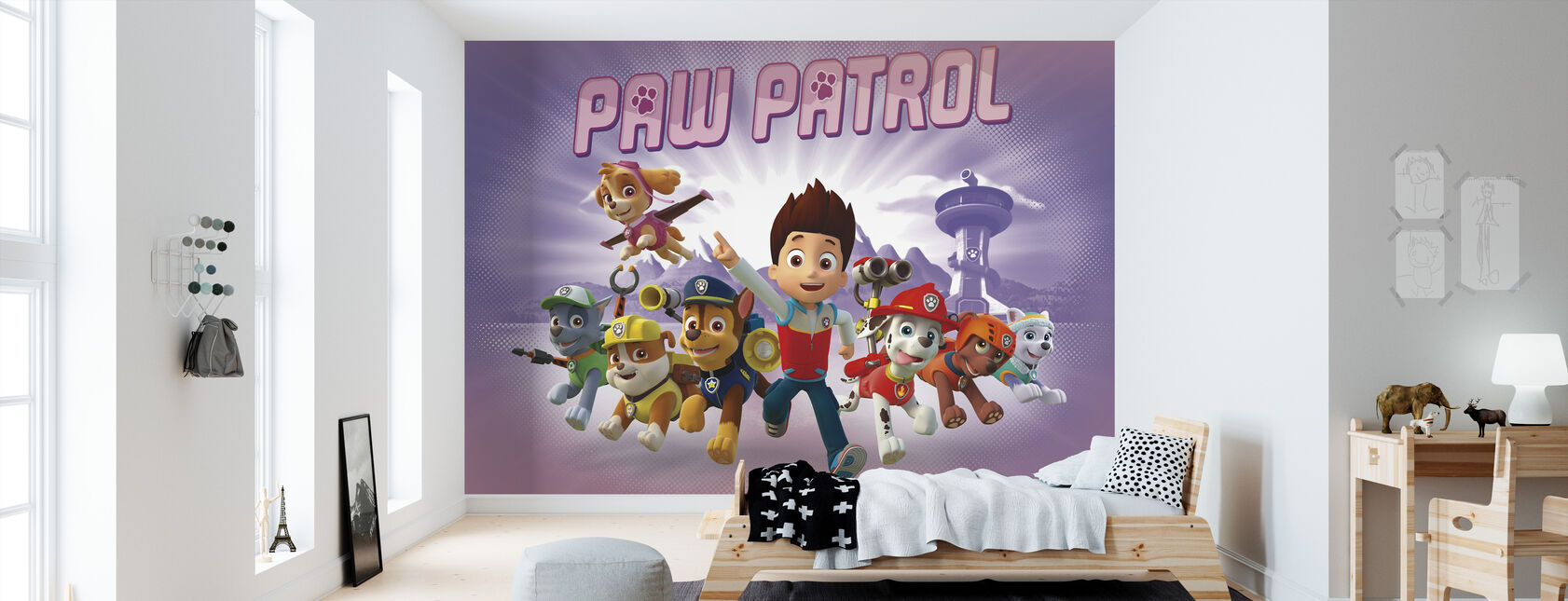 PAW Patrol - PAW Patrol är på rulle - Purple - Tapet - Barnrum