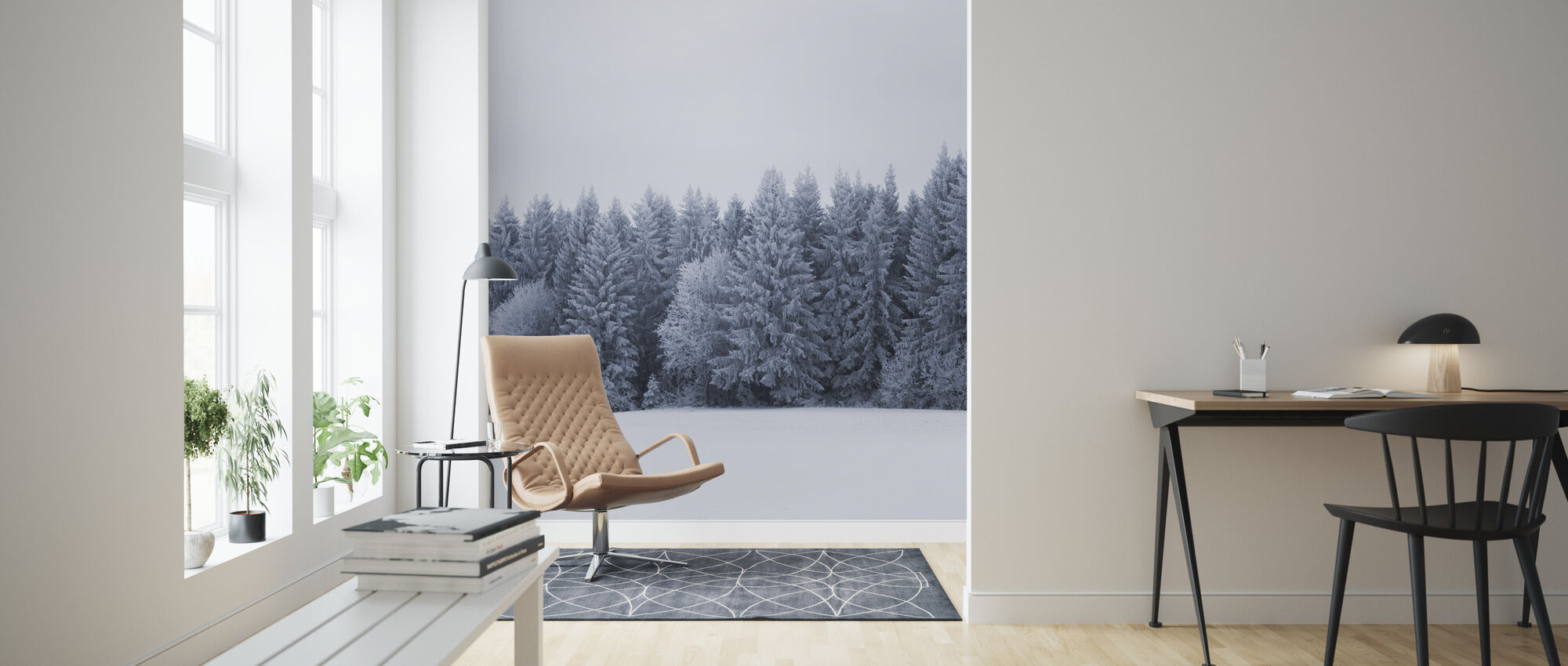 Blue Fir Trees - Wallpaper - Living Room