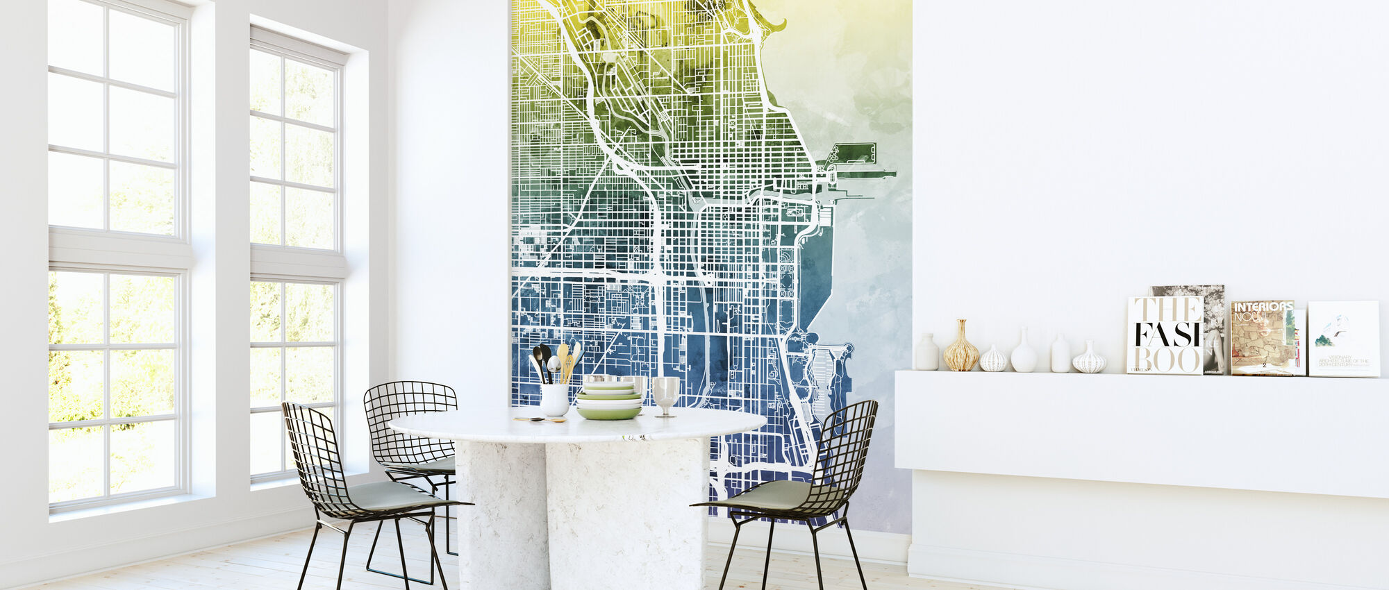 Chicago Street Map Bluegreen - Wallpaper - Kitchen