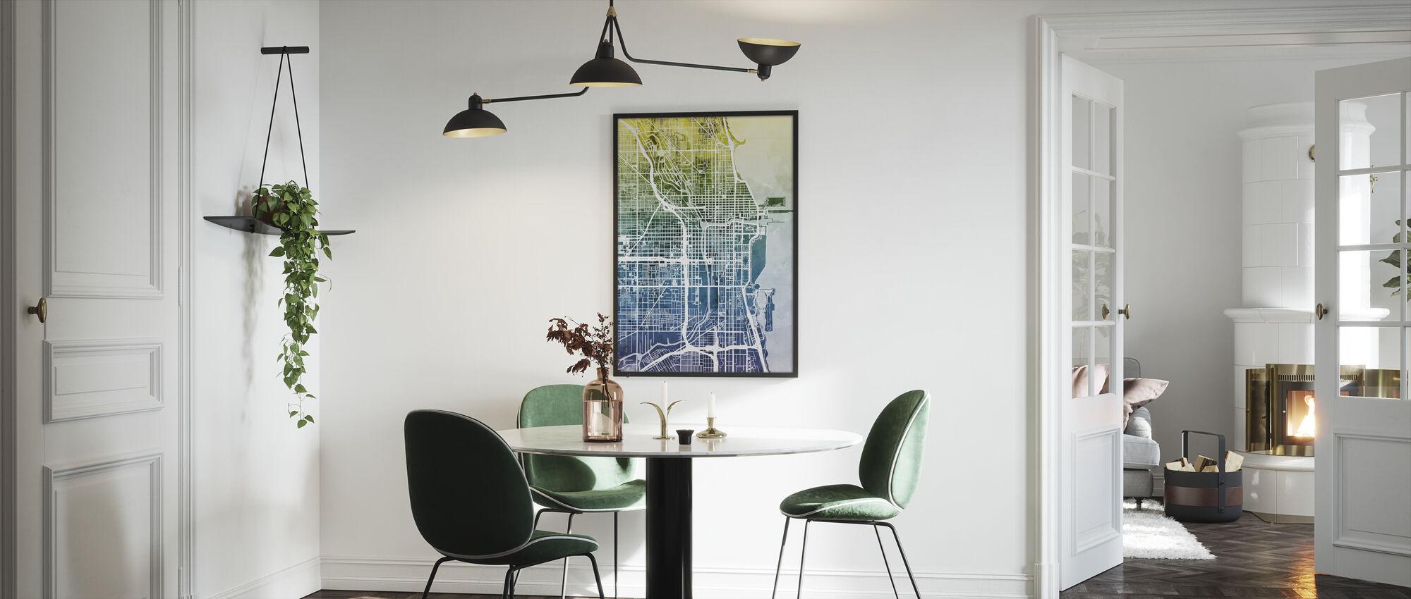 Chicago Street Map Bluegreen - Framed print - Kitchen
