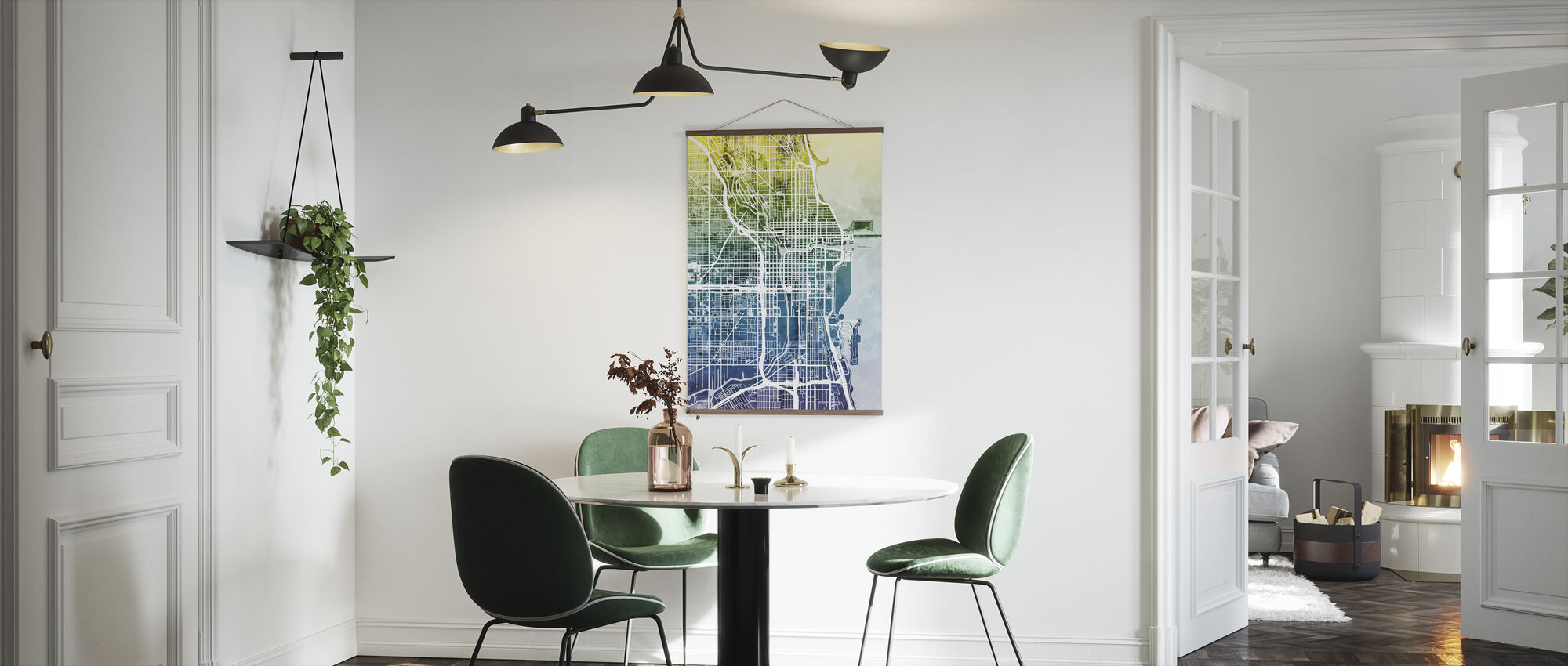 Chicago Street Map Bluegreen - Poster - Kitchen