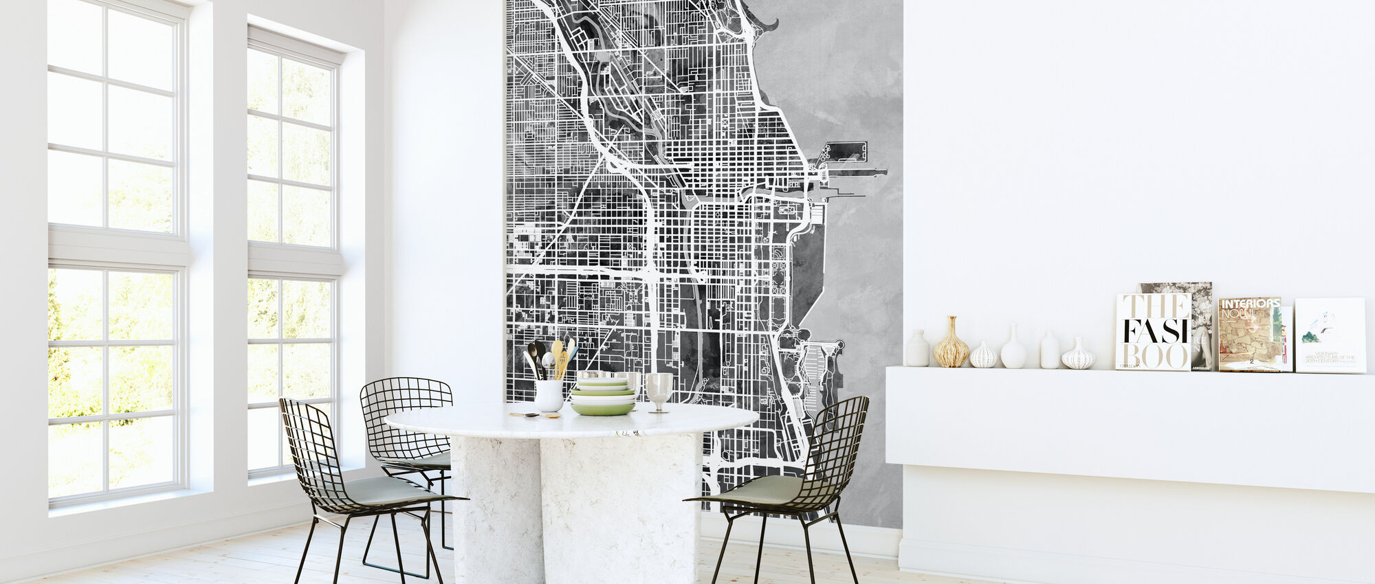 Chicago Street Map B/W - Wallpaper - Kitchen