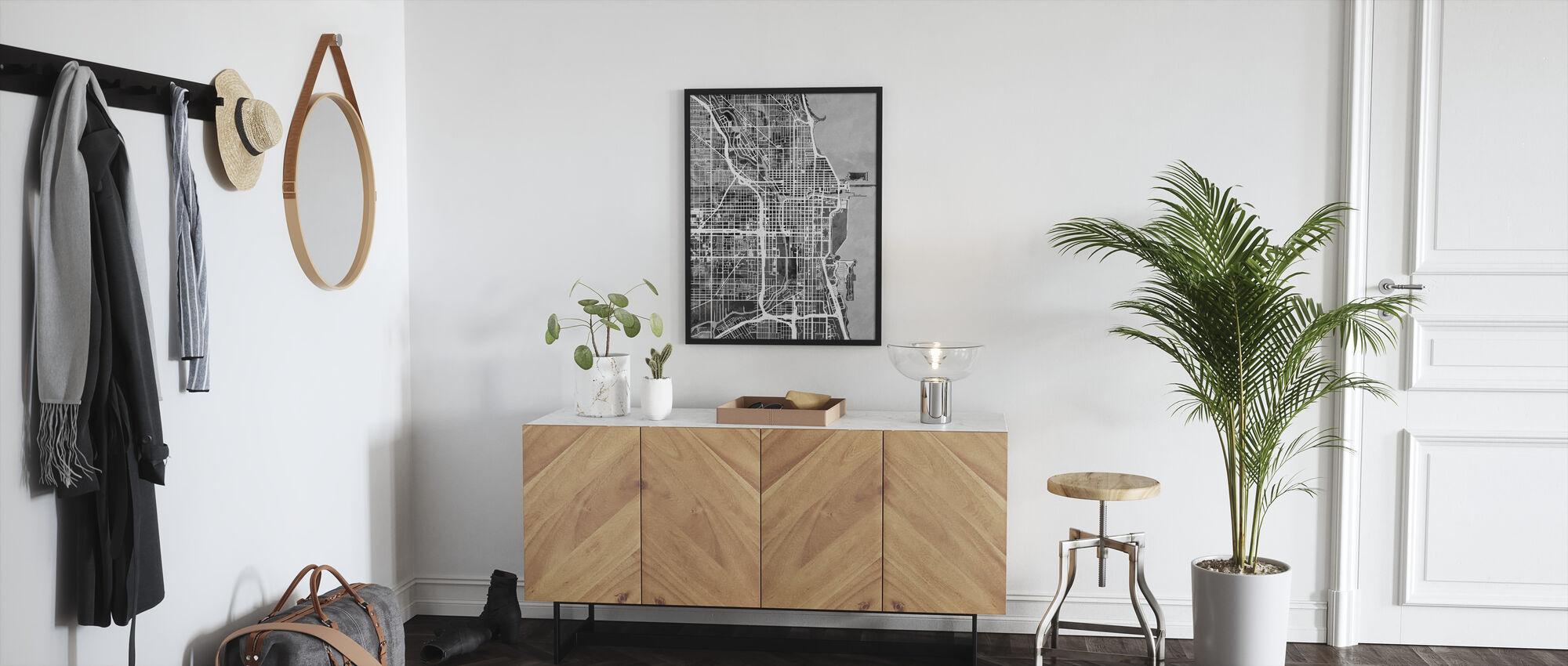 Chicago Street Kartta B/W - Kehystetty kuva - Aula