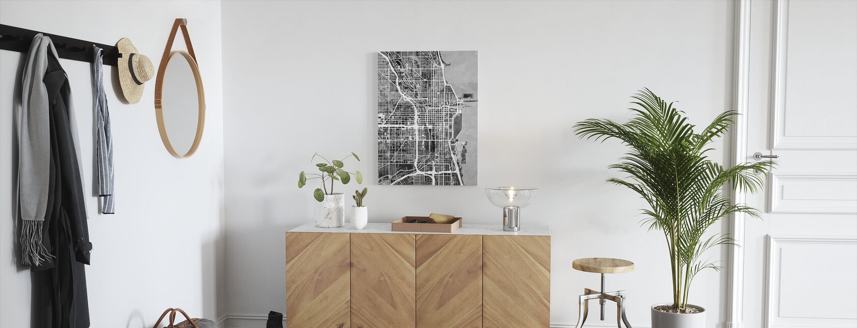 Chicago Street Map B/W - Canvas print - Hallway