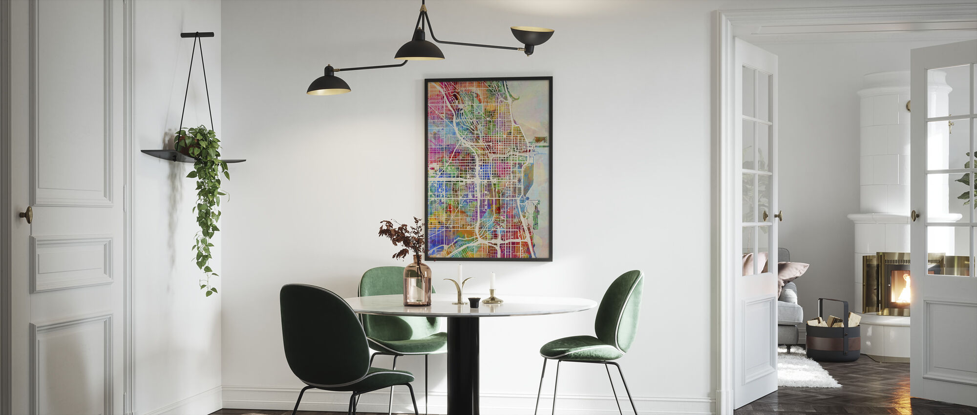 Chicago Street Map Multicolour - Framed print - Kitchen