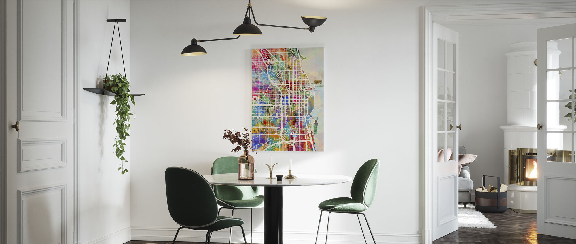 Chicago Street Map Multicolour - Canvas print - Kitchen