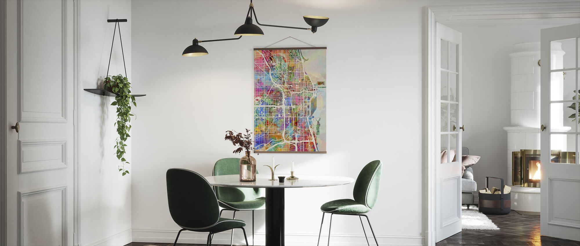 Chicago Street Map Multicolour - Poster - Kitchen