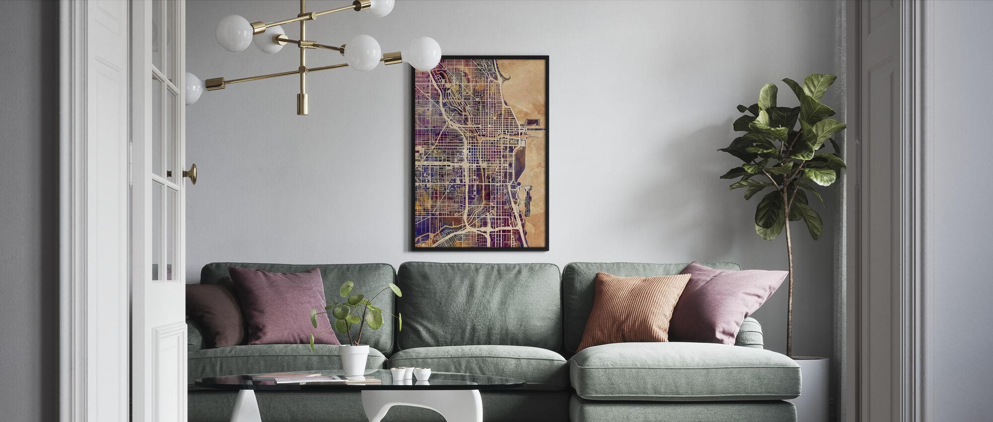 Chicago Street Map Purple - Framed print - Living Room