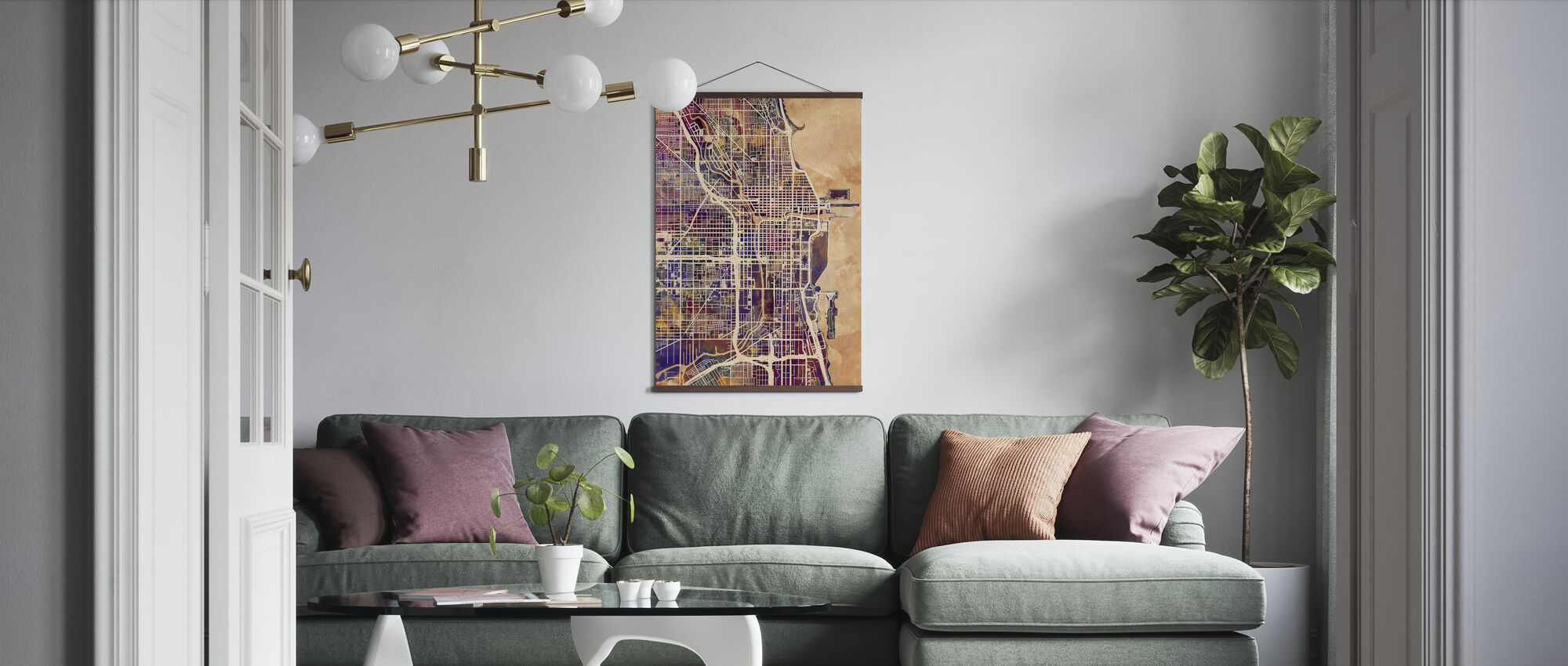 Chicago Street Map Purple - Poster - Living Room