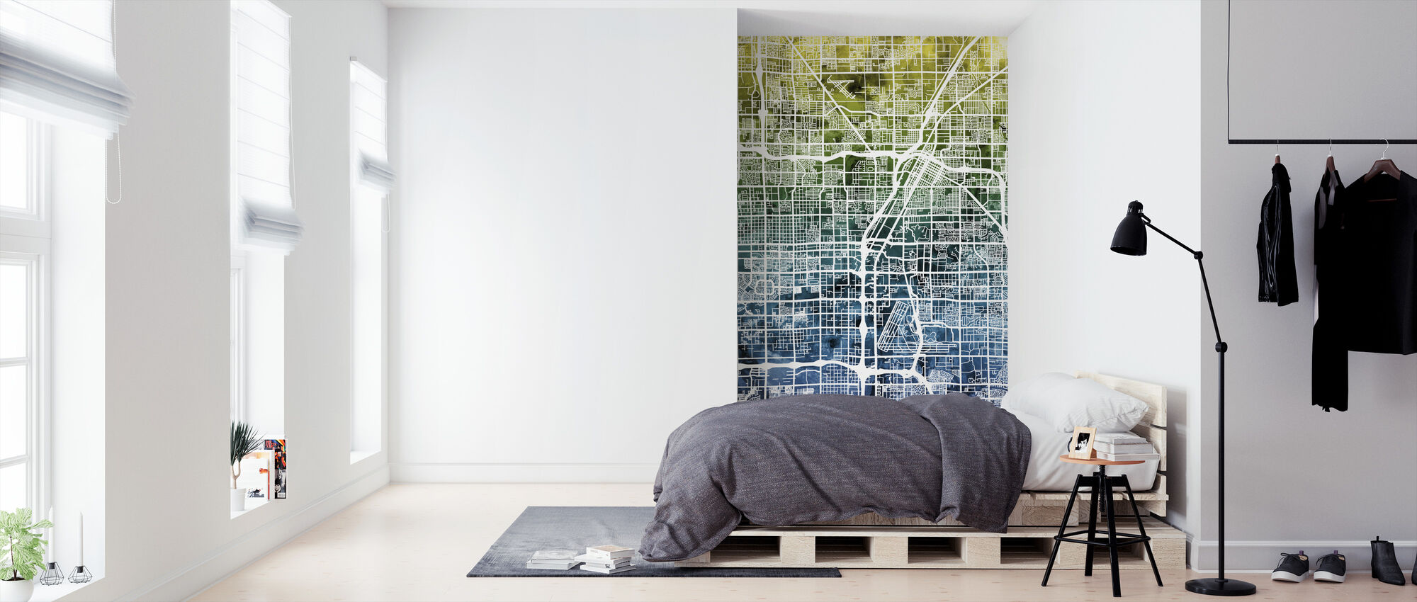 Las Vegas Street Map Bluegreen - Wallpaper - Bedroom