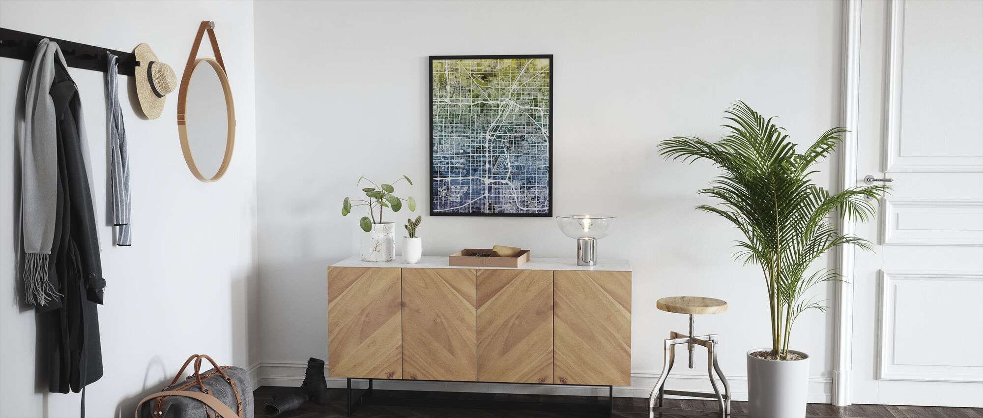 Las Vegas Street Map Bluegreen - Framed print - Hallway