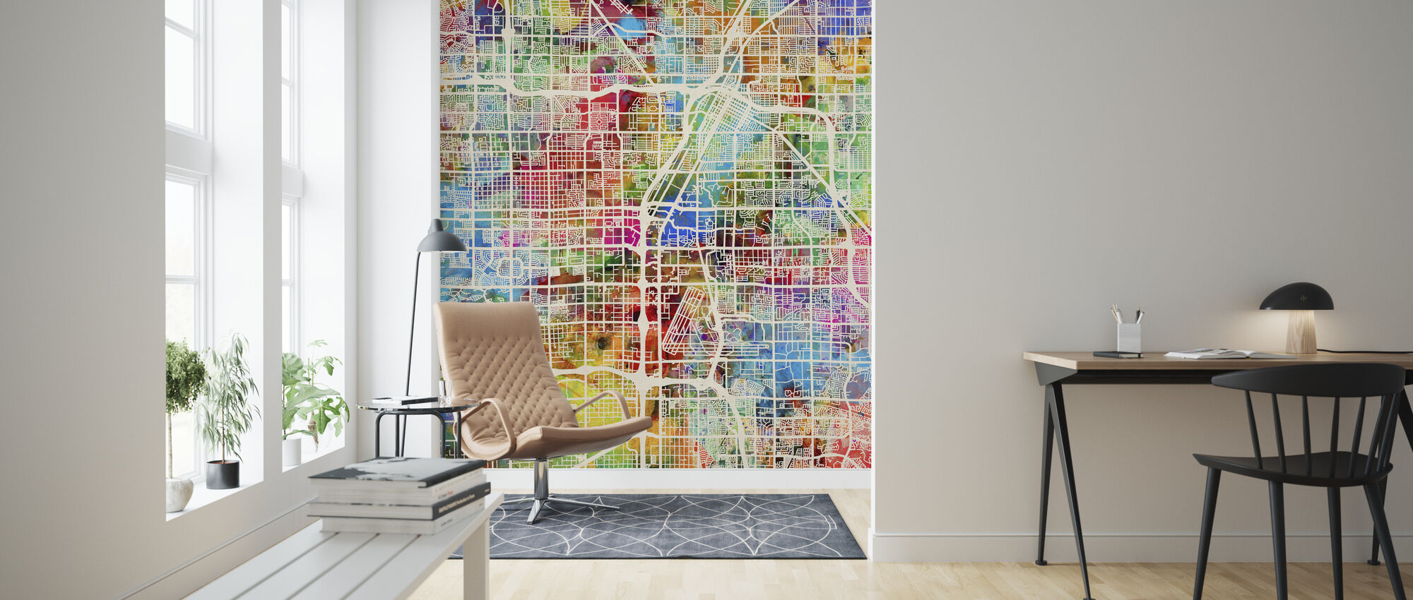 Las Vegas Street Map Multicolour - Wallpaper - Living Room