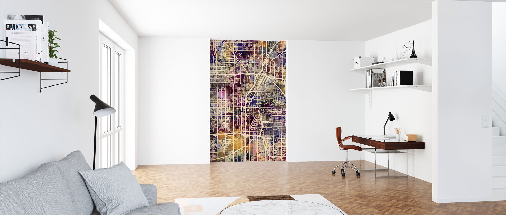 Las Vegas Street Map Purple - Wallpaper - Office
