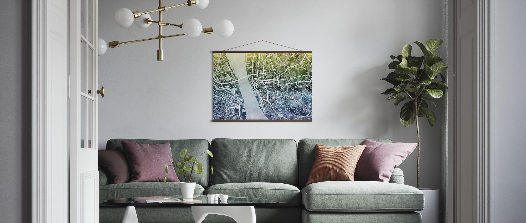 Liverpool Street Map Bluegreen - Poster - Living Room