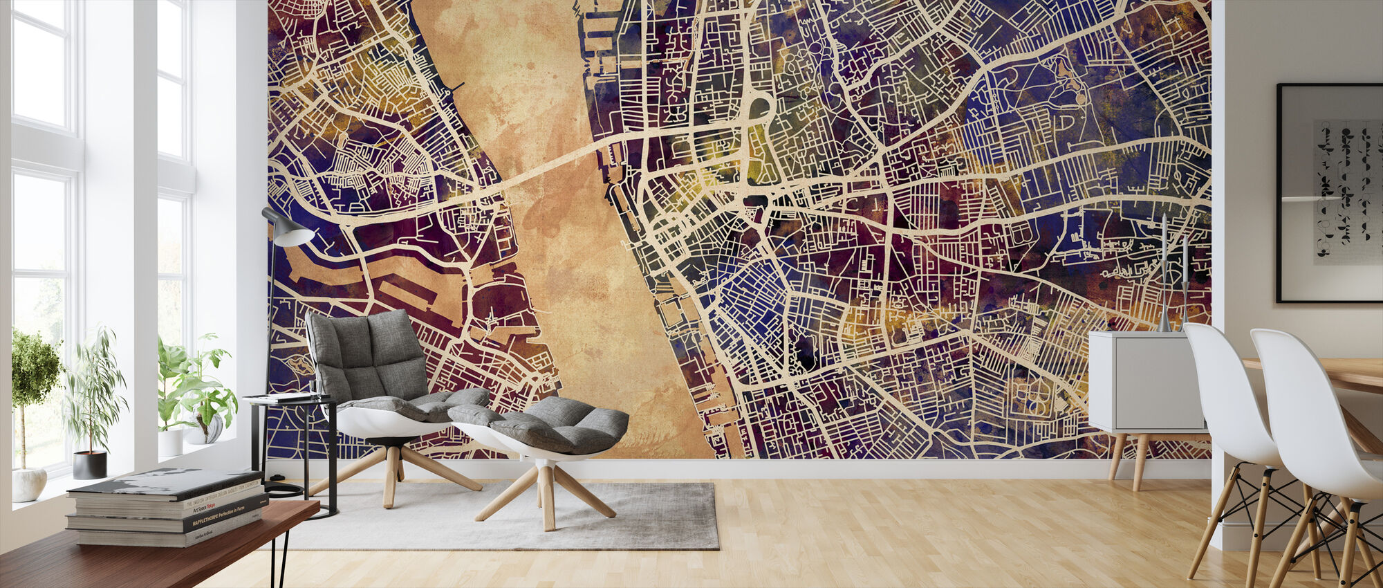Liverpool Street Map Purple - Wallpaper - Living Room