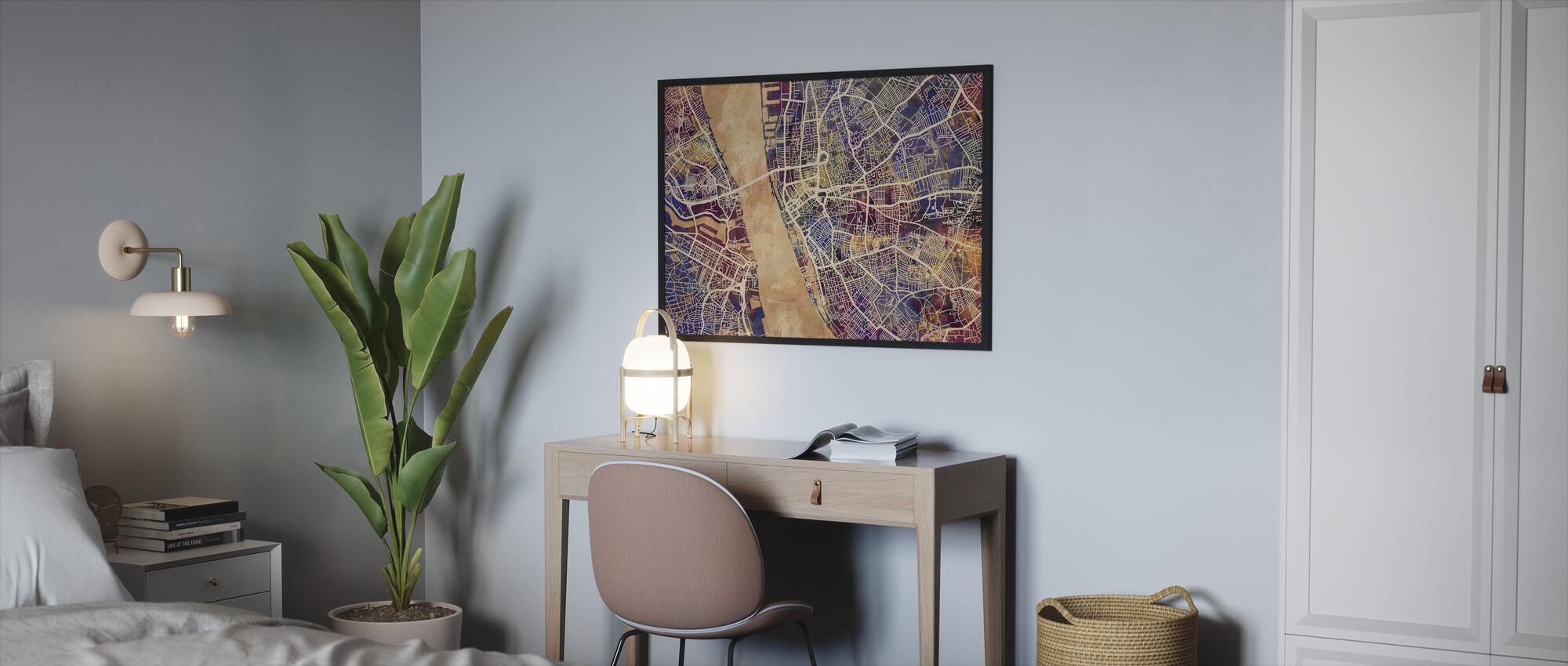 Liverpool Street Map Purple - Framed print - Bedroom