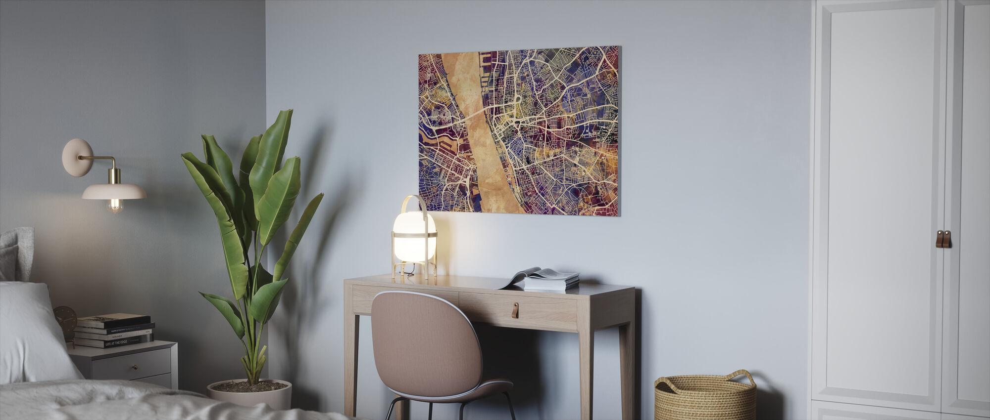 Liverpool Street Map Purple - Canvas print - Office