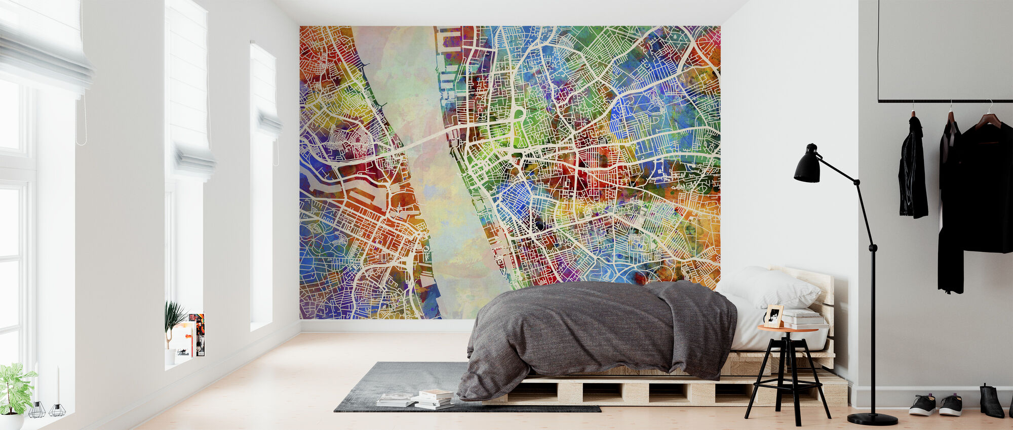 Liverpool Street Map Multicolour - Wallpaper - Bedroom