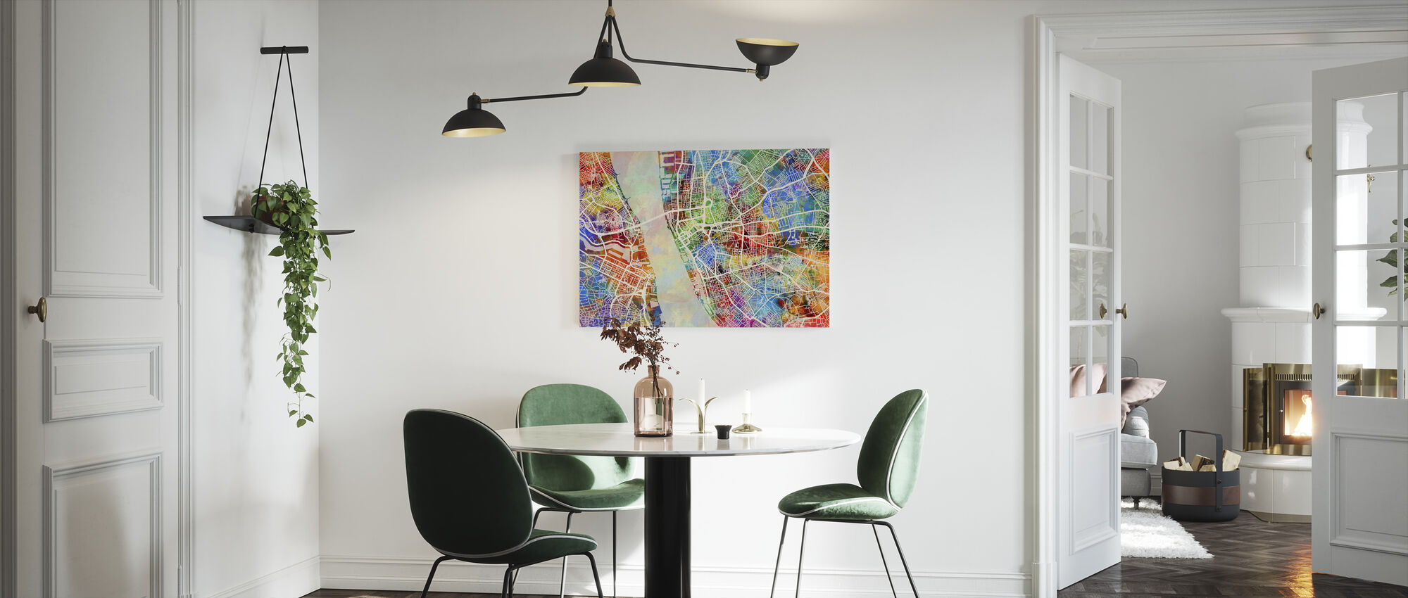 Liverpool Street Map Multicolour - Canvas print - Kitchen