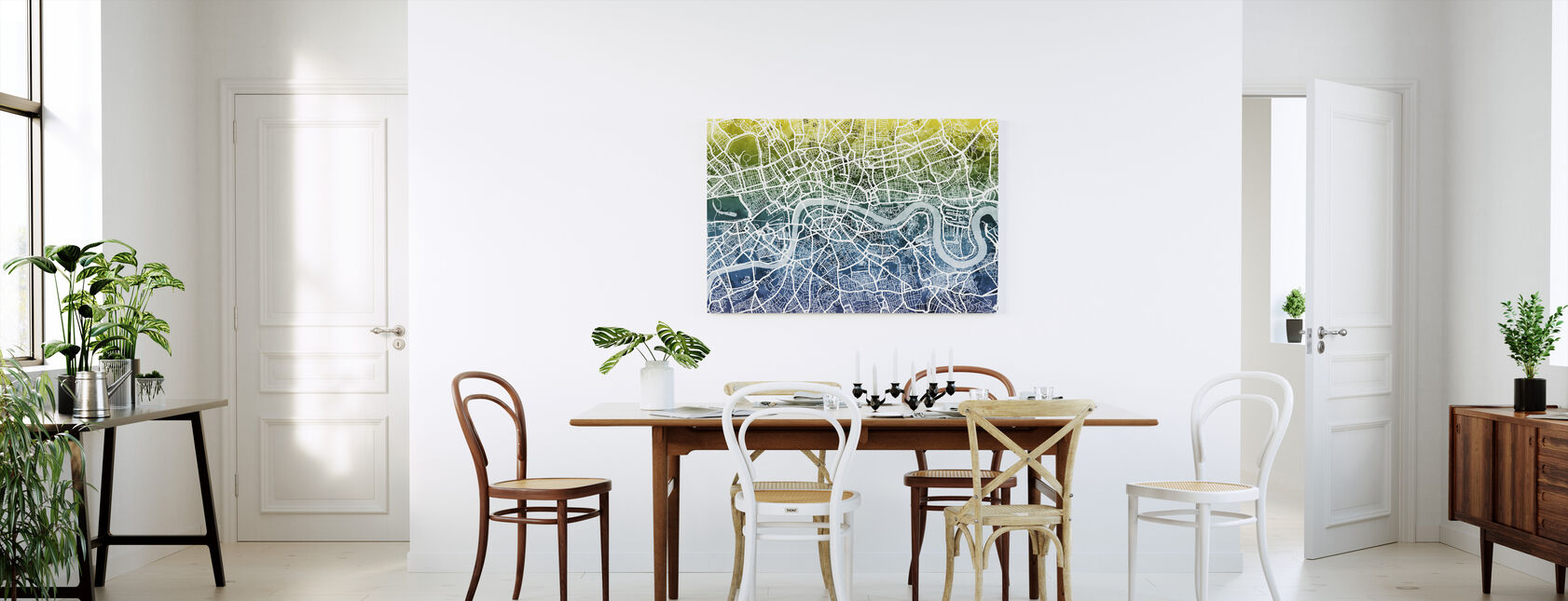 London Street Map Bluegreen - Canvas print - Kitchen