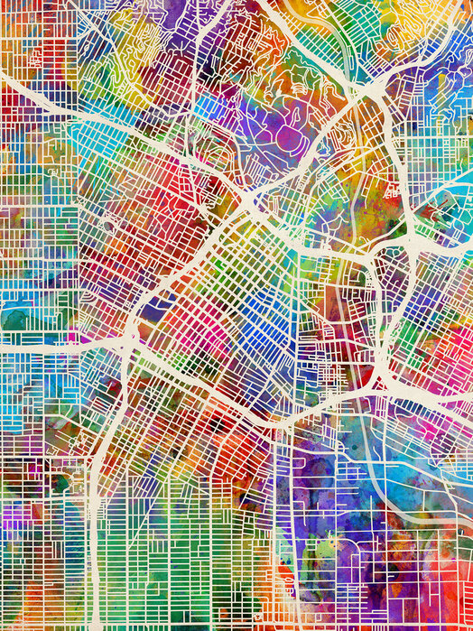 Los Angeles Street Map Multicolour Made To Measure Wall