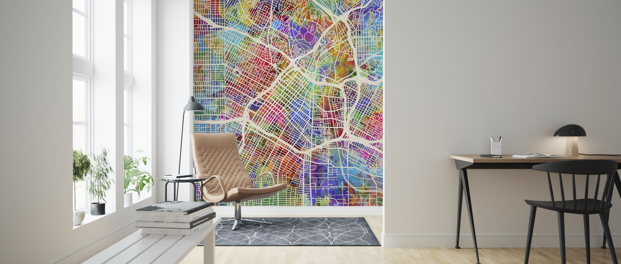Los Angeles Street Map Multicolour - Wallpaper - Living Room
